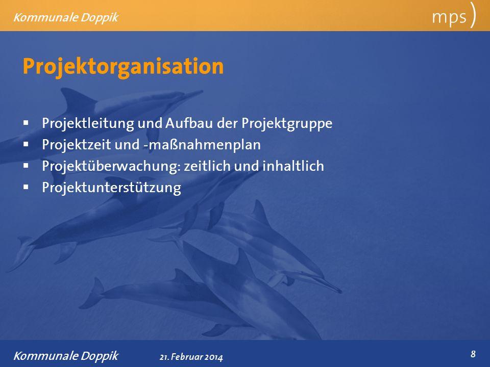 Präsentationstitel 21. Februar 2014 Projektorganisation mps ) Kommunale Doppik Projektleitung und Aufbau der Projektgruppe Projektzeit und -maßnahmenp
