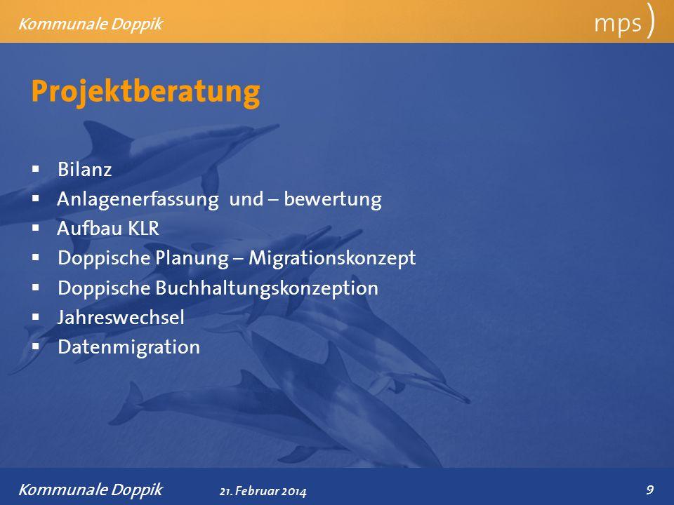 Präsentationstitel 21. Februar 2014 Projektberatung mps ) Kommunale Doppik Bilanz Anlagenerfassung und – bewertung Aufbau KLR Doppische Planung – Migr