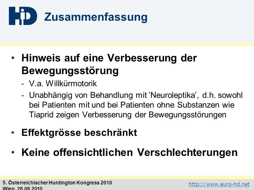 http://www.euro-hd.net 5. Österreichischer Huntington Kongress 2010 Wien, 26.06.2010 Zusammenfassung Hinweis auf eine Verbesserung der Bewegungsstörun