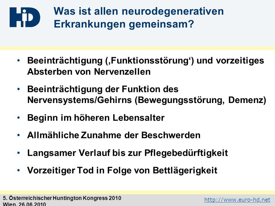 http://www.euro-hd.net 5. Österreichischer Huntington Kongress 2010 Wien, 26.06.2010 Was ist allen neurodegenerativen Erkrankungen gemeinsam? Beeinträ
