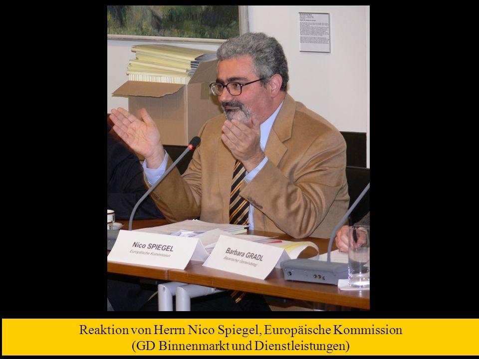 Reaktion von Herrn Nico Spiegel, Europäische Kommission (GD Binnenmarkt und Dienstleistungen)
