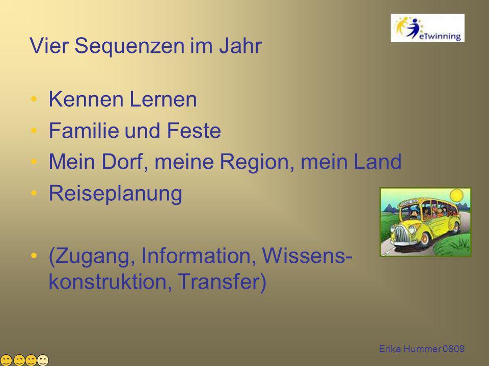 Erika Hummer 0609 Vier Sequenzen im Jahr Kennen Lernen Familie und Feste Mein Dorf, meine Region, mein Land Reiseplanung (Zugang, Information, Wissens- konstruktion, Transfer)