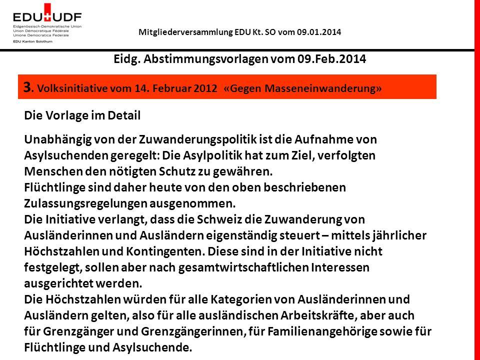 Mitgliederversammlung EDU Kt.SO vom 09.01.2014 Eidg.