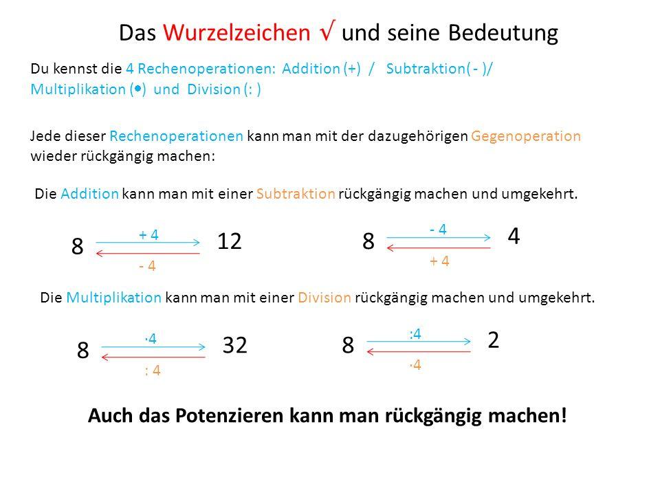 Das Wurzelzeichen und seine Bedeutung Du kennst die 4 Rechenoperationen: Addition (+) / Subtraktion( - )/ Multiplikation ( ) und Division (: ) Jede di
