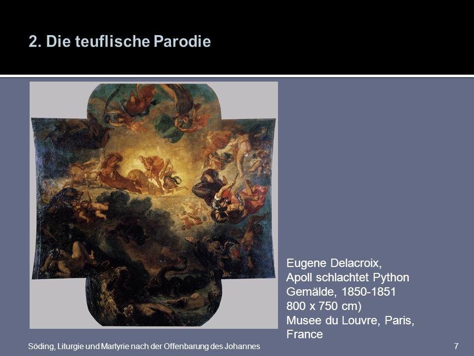 7 Eugene Delacroix, Apoll schlachtet Python Gemälde, 1850-1851 800 x 750 cm) Musee du Louvre, Paris, France