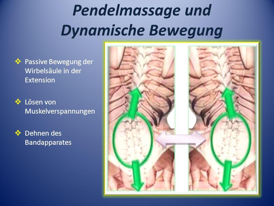 Pendelmassage und Dynamische Bewegung Passive Bewegung der Wirbelsäule in der Extension Lösen von Muskelverspannungen Dehnen des Bandapparates