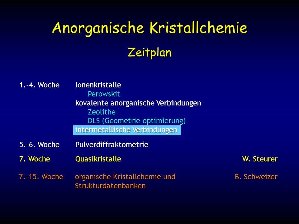 7. WocheQuasikristalleW. Steurer Zeitplan 1.-4. WocheIonenkristalle Perowskit kovalente anorganische Verbindungen Zeolithe DLS (Geometrie optimierung)