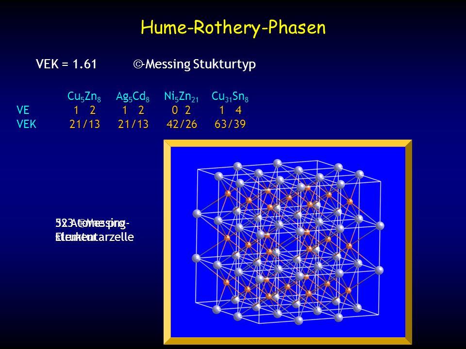 3x3 -Messing- struktur 52 Atome pro Elementarzelle Hume-Rothery-Phasen VEK = 1.61 -Messing Stukturtyp Cu 5 Zn 8 Ag 5 Cd 8 Ni 5 Zn 21 Cu 31 Sn 8 VE1 21