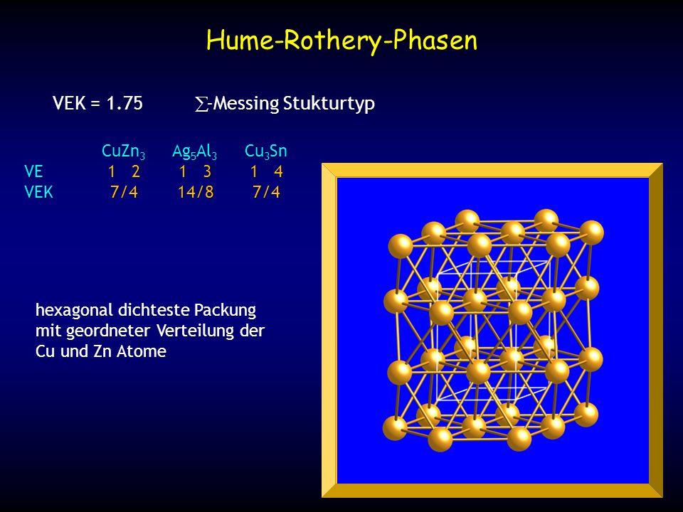 Hume-Rothery-Phasen VEK = 1.75 -Messing Stukturtyp CuZn 3 Ag 5 Al 3 Cu 3 Sn VE1 21 31 4 VEK7/414/87/4 hexagonal dichteste Packung mit geordneter Verte