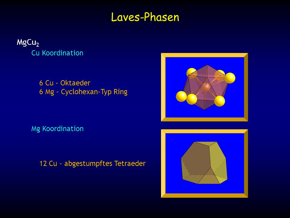 12 Cu - abgestumpftes Tetraeder Laves-Phasen MgCu 2 6 Cu - Oktaeder 6 Mg - Cyclohexan-Typ Ring Cu Koordination Mg Koordination