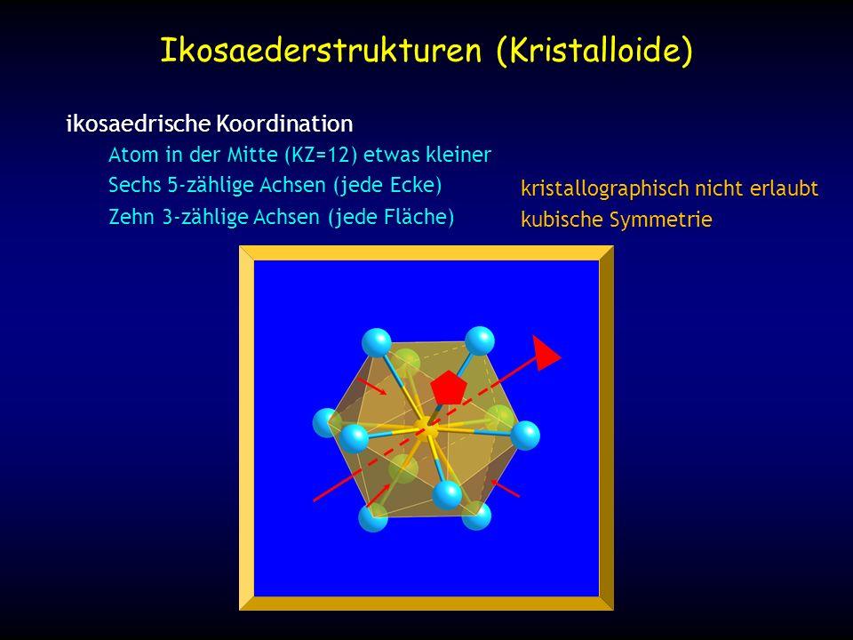 Ikosaederstrukturen (Kristalloide) ikosaedrische Koordination Atom in der Mitte (KZ=12) etwas kleiner Sechs 5-zählige Achsen (jede Ecke) Zehn 3-zählig
