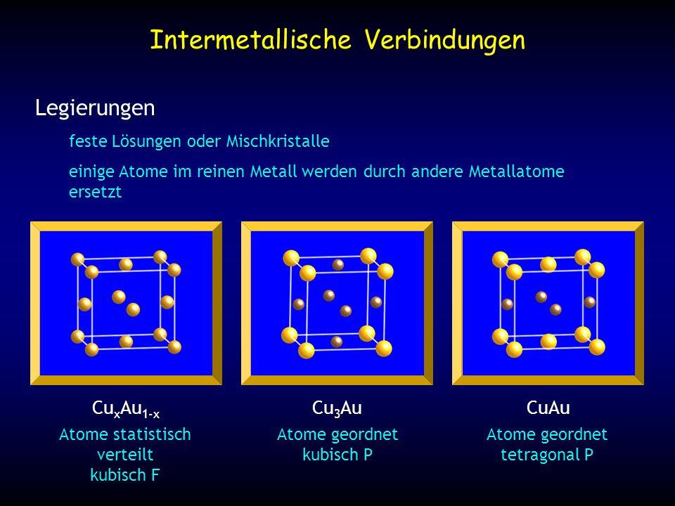 Intermetallische Verbindungen Legierungen feste Lösungen oder Mischkristalle einige Atome im reinen Metall werden durch andere Metallatome ersetzt Cu