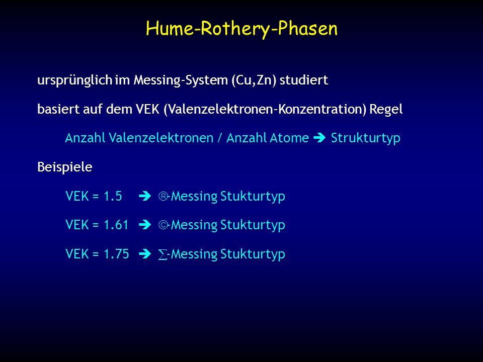 ursprünglich im Messing-System (Cu,Zn) studiert basiert auf dem VEK (Valenzelektronen-Konzentration) Regel Anzahl Valenzelektronen / Anzahl Atome Stru