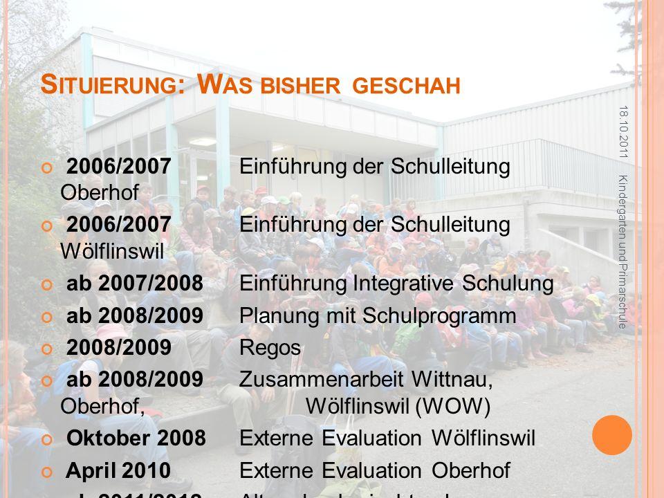 S ITUIERUNG : W AS BISHER GESCHAH 2006/2007Einführung der Schulleitung Oberhof 2006/2007Einführung der Schulleitung Wölflinswil ab 2007/2008Einführung