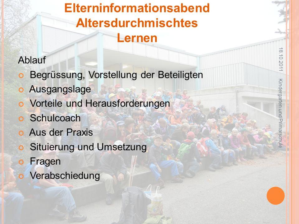 V ORSTELLUNG DER B ETEILIGTEN 18.10.2011 Kindergarten und Primarschule