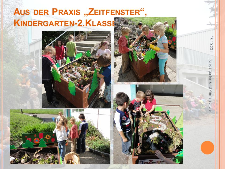 A US DER P RAXIS Z EITFENSTER, K INDERGARTEN -2.K LASSE, O BERHOF 18.10.2011 Kindergarten und Primarschule
