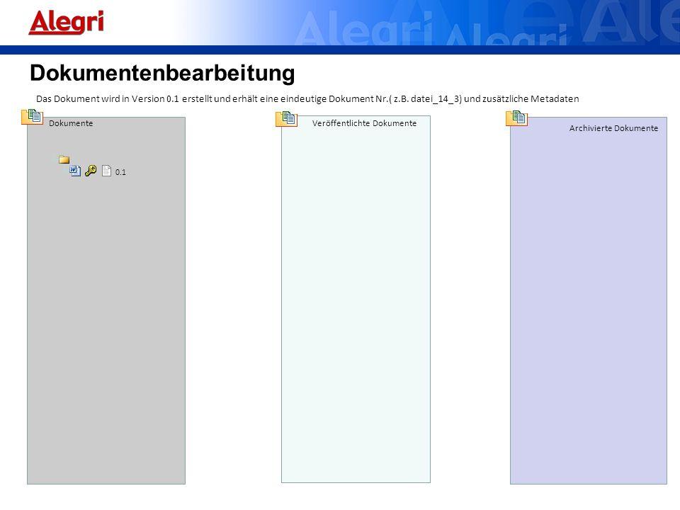 Dokumente Veröffentlichte Dokumente Archivierte Dokumente 0.1 Das Dokument wird in Version 0.1 erstellt und erhält eine eindeutige Dokument Nr.( z.B.