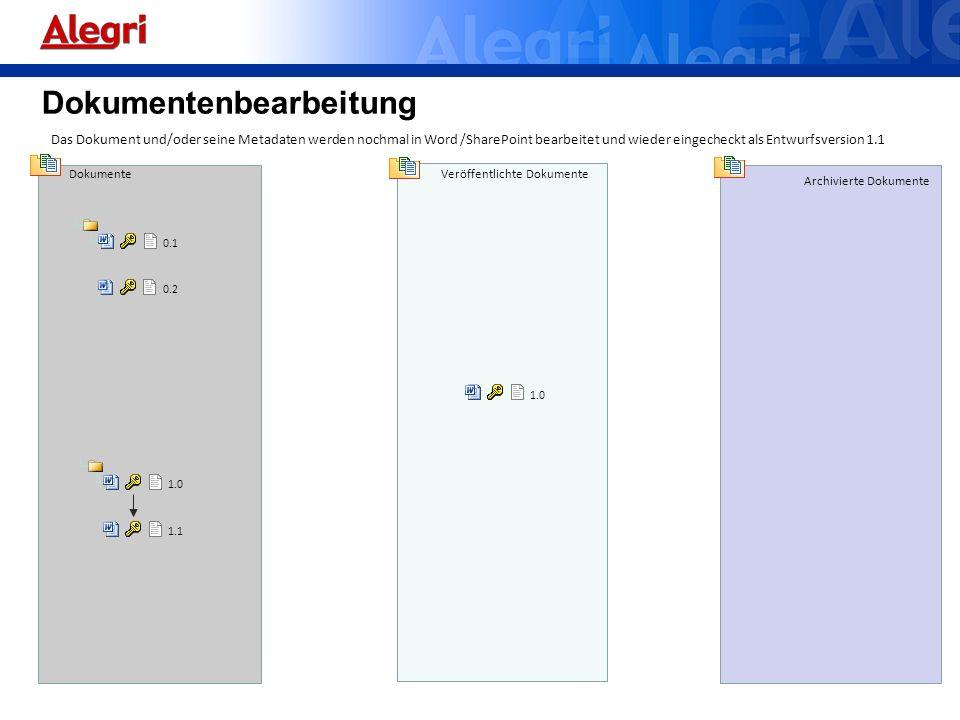 Dokumente Veröffentlichte Dokumente Archivierte Dokumente 0.1 Das Dokument und/oder seine Metadaten werden nochmal in Word /SharePoint bearbeitet und