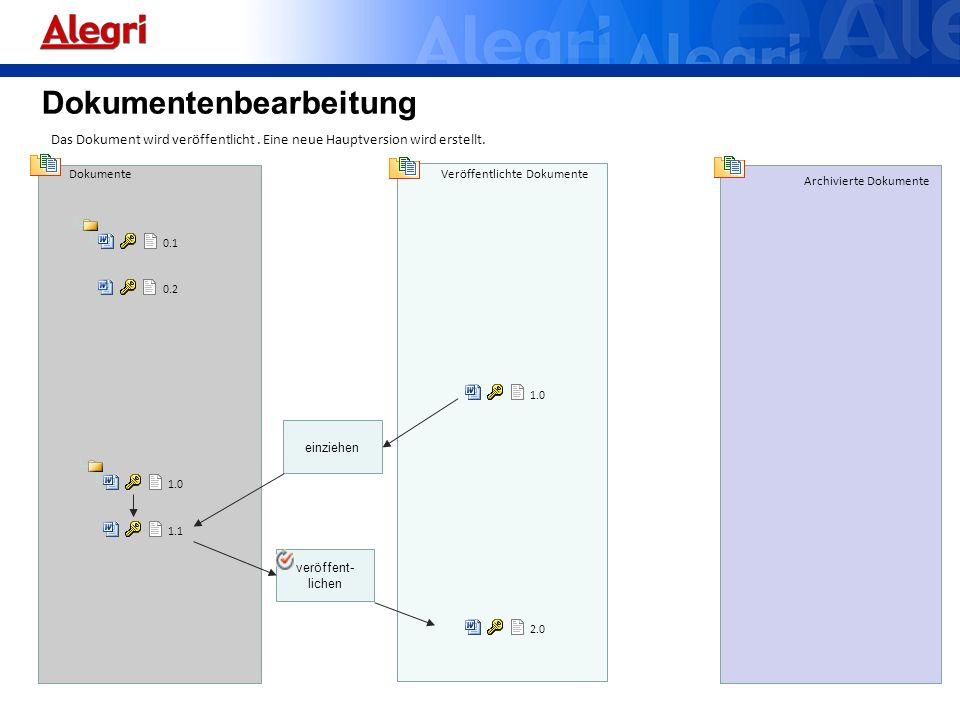 Dokumente Veröffentlichte Dokumente Archivierte Dokumente 0.1 Das Dokument wird veröffentlicht. Eine neue Hauptversion wird erstellt. 0.2 1.0 2.0 verö
