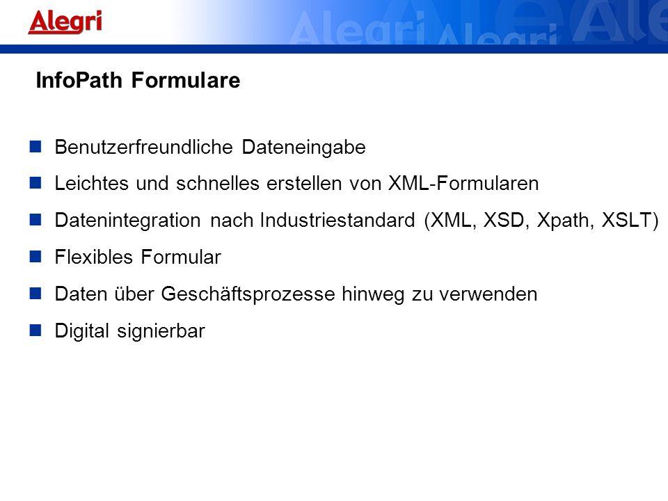 Benutzerfreundliche Dateneingabe Leichtes und schnelles erstellen von XML-Formularen Datenintegration nach Industriestandard (XML, XSD, Xpath, XSLT) F
