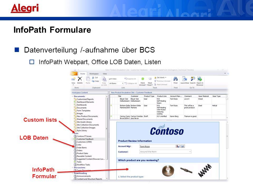 Datenverteilung /-aufnahme über BCS InfoPath Webpart, Office LOB Daten, Listen LOB Daten Custom lists InfoPath Formular InfoPath Formulare