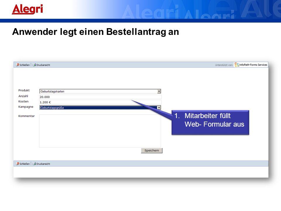 Anwender legt einen Bestellantrag an 1.Mitarbeiter füllt Web- Formular aus