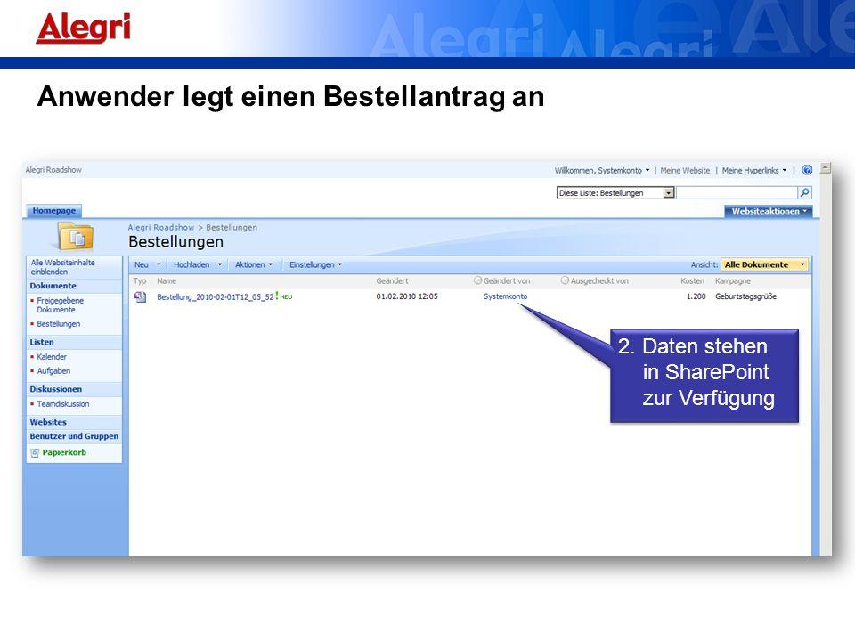 Anwender legt einen Bestellantrag an 2. Daten stehen in SharePoint zur Verfügung