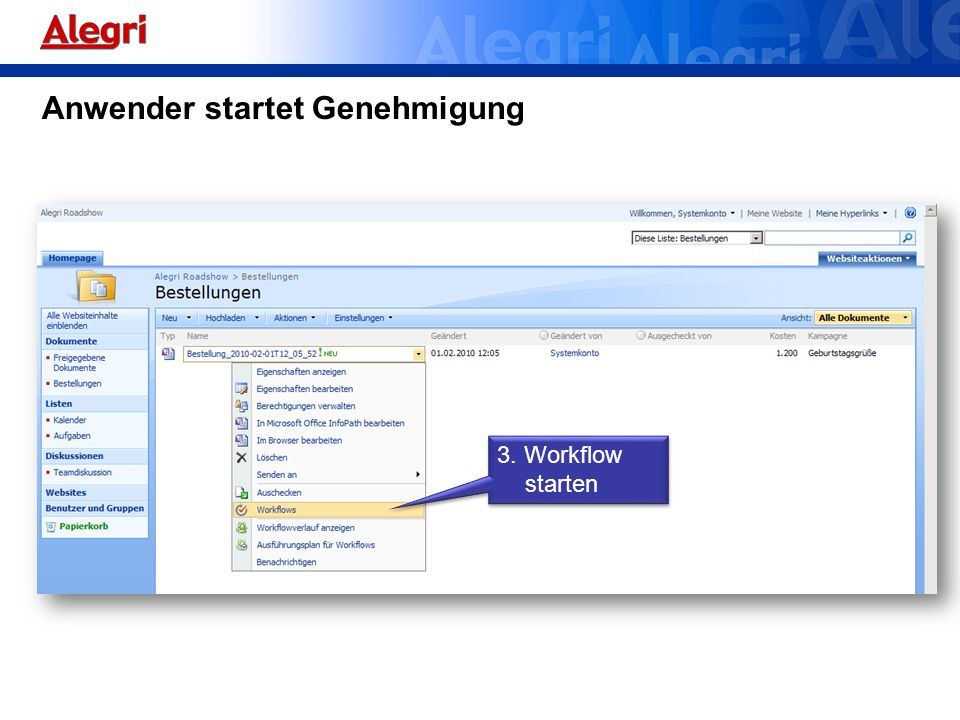Anwender startet Genehmigung 3. Workflow starten