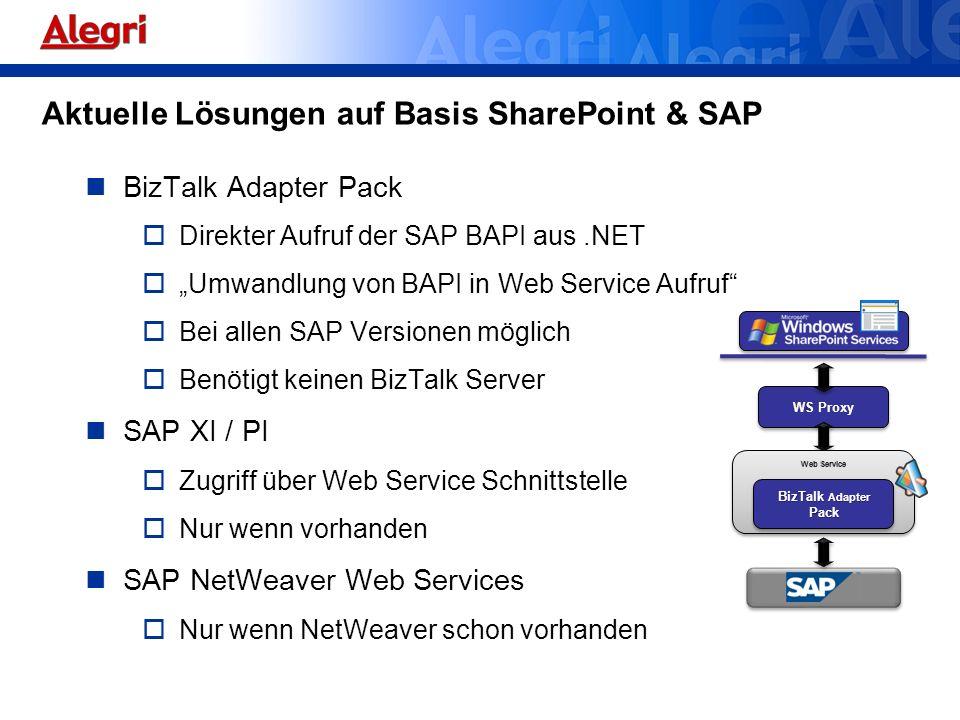 Aktuelle Lösungen auf Basis SharePoint & SAP BizTalk Adapter Pack Direkter Aufruf der SAP BAPI aus.NET Umwandlung von BAPI in Web Service Aufruf Bei a