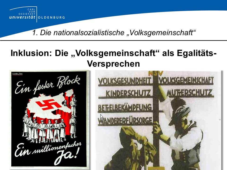 Inklusion: Die Volksgemeinschaft als Egalitäts- Versprechen 1. Die nationalsozialistische Volksgemeinschaft