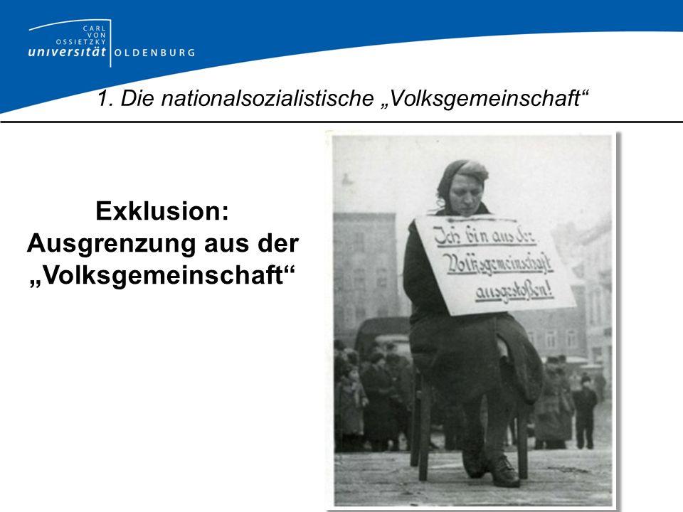 Exklusion: Ausgrenzung aus der Volksgemeinschaft 1. Die nationalsozialistische Volksgemeinschaft