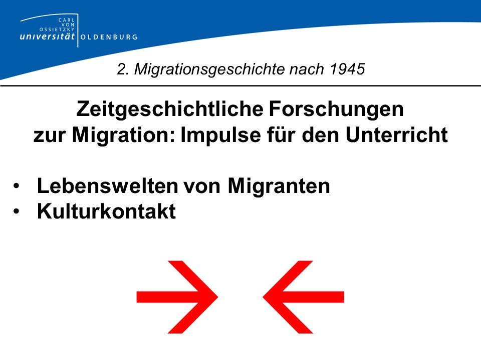 2. Migrationsgeschichte nach 1945 Zeitgeschichtliche Forschungen zur Migration: Impulse für den Unterricht Lebenswelten von Migranten Kulturkontakt
