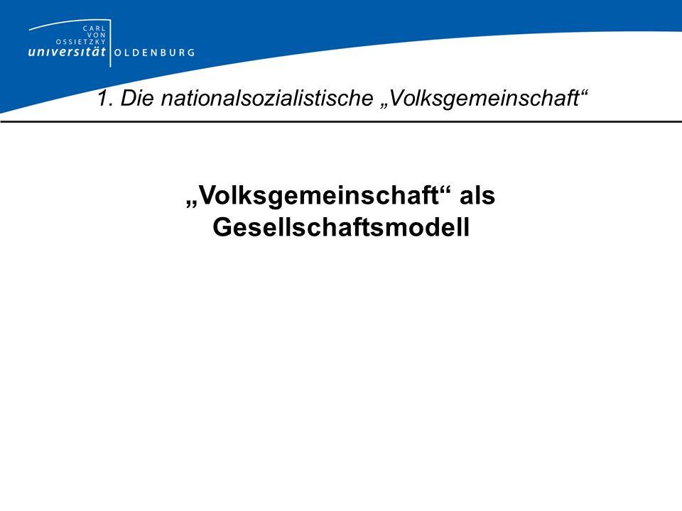 Volksgemeinschaft als Gesellschaftsmodell: -Inklusion, -Exklusion und -Distinktion 1.