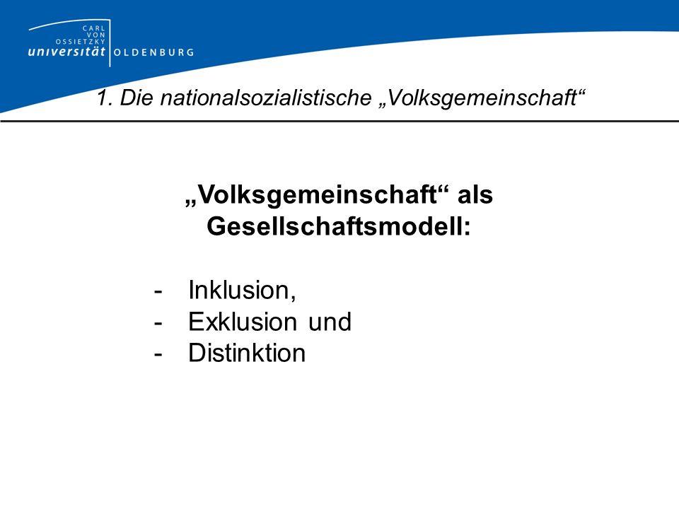 Volksgemeinschaft als Gesellschaftsmodell: -Inklusion, -Exklusion und -Distinktion 1. Die nationalsozialistische Volksgemeinschaft