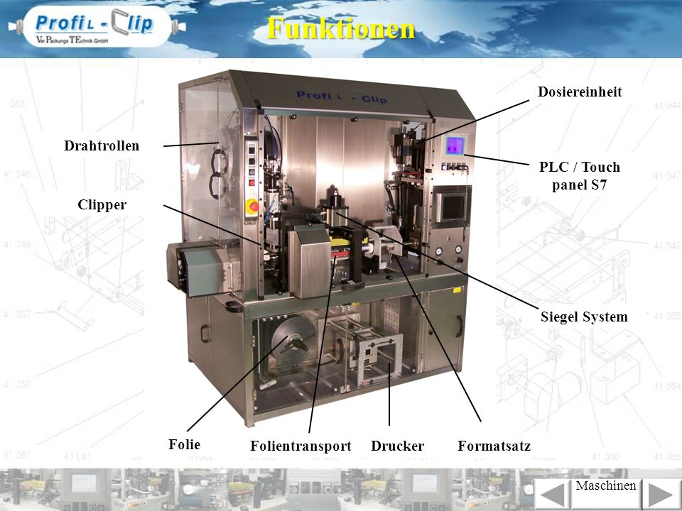 DruckerFolientransport PLC / Touch panel S7 Clipper Drahtrollen Siegel System Folie Dosiereinheit FormatsatzFunktionen Maschinen