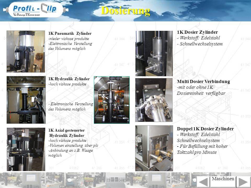1K Pneumatik Zylinder -nieder viskose produkte -Elektronische Verstellung des Volumens möglich 1K Hydraulik Zylinder -hoch viskose produkte - Elektron