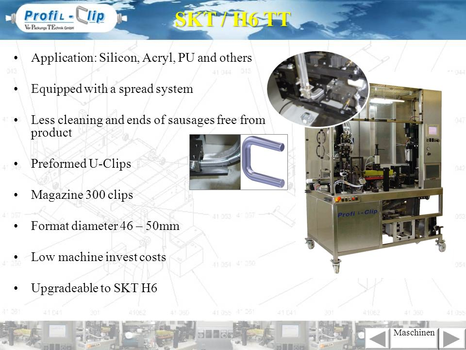 Application: Silicon, Acryl, PU and others Equipped with a spread system Less cleaning and ends of sausages free from product Preformed U-Clips Magazi