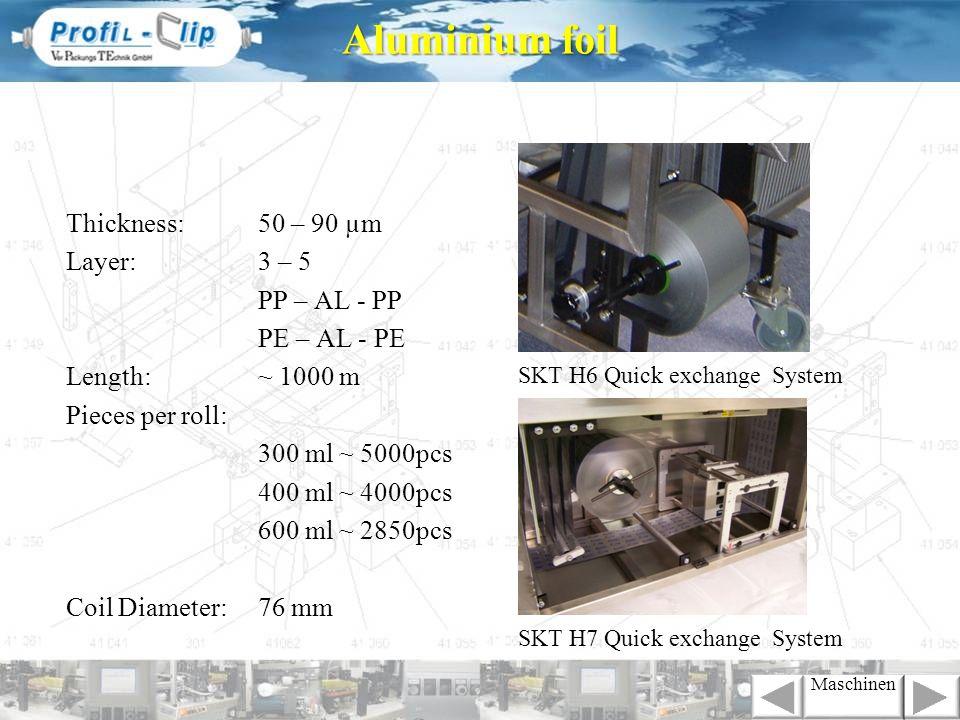 Thickness:50 – 90 µm Layer:3 – 5 PP – AL - PP PE – AL - PE Length:~ 1000 m Pieces per roll: 300 ml ~ 5000pcs 400 ml ~ 4000pcs 600 ml ~ 2850pcs Coil Di