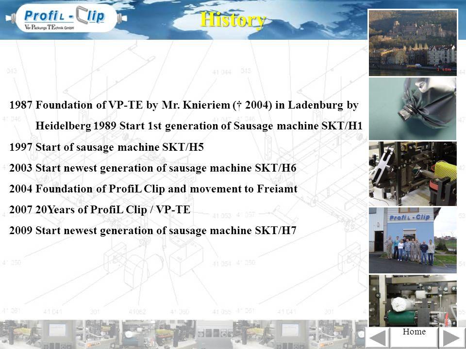 1987 Foundation of VP-TE by Mr. Knieriem ( 2004) in Ladenburg by Heidelberg 1989 Start 1st generation of Sausage machine SKT/H1 1997 Start of sausage