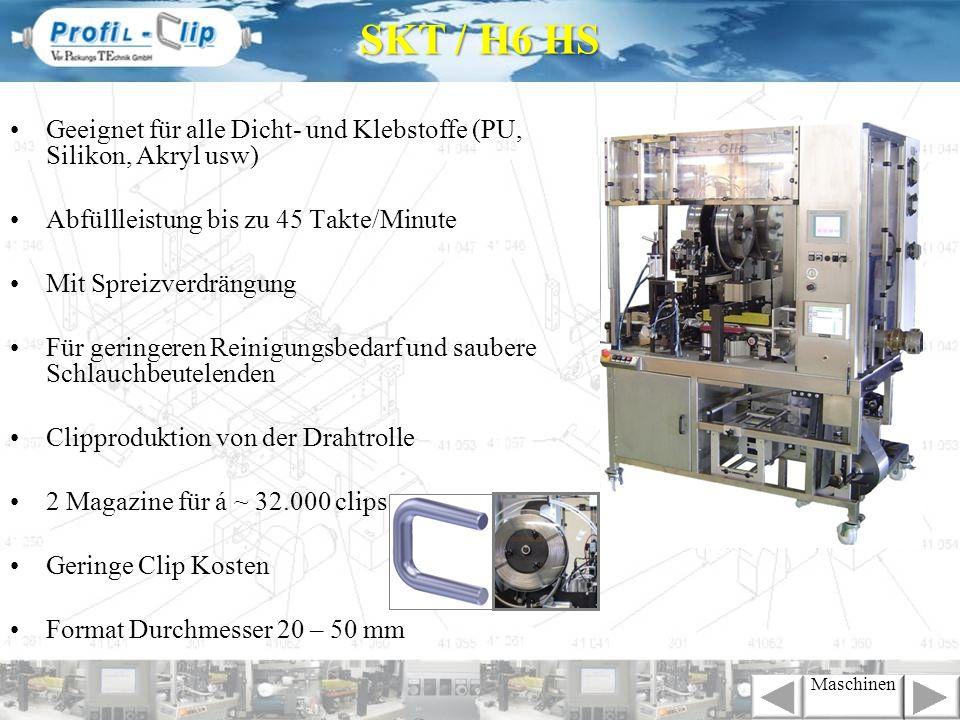 Geeignet für alle Dicht- und Klebstoffe (PU, Silikon, Akryl usw) Abfüllleistung bis zu 45 Takte/Minute Folienbestückung von vorn Mit Spreizverdrängung Für geringeren Reinigungsbedarf und saubere Schlauchbeutelenden Clipproduktion von der Drahtrolle 2 Magazine für á ~ 32.000 clips Geringe Clip Kosten Format Durchmesser 20 – 50 mm SKT / H7 HS Maschinen