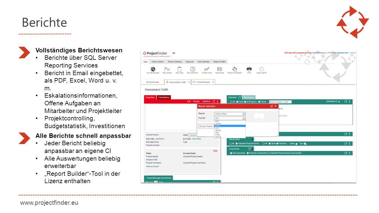 www.projectfinder.eu Berichte Vollständiges Berichtswesen Berichte über SQL Server Reporting Services Bericht in Email eingebettet, als PDF, Excel, Word u.