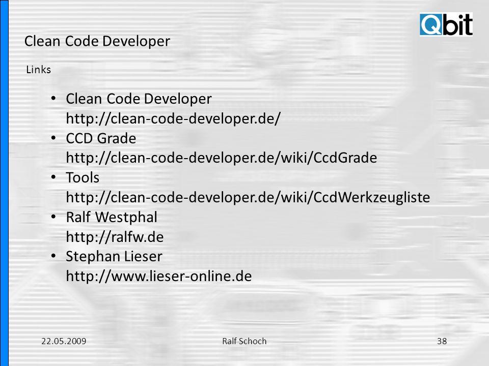 Clean Code Developer Links Clean Code Developer http://clean-code-developer.de/ CCD Grade http://clean-code-developer.de/wiki/CcdGrade Tools http://cl