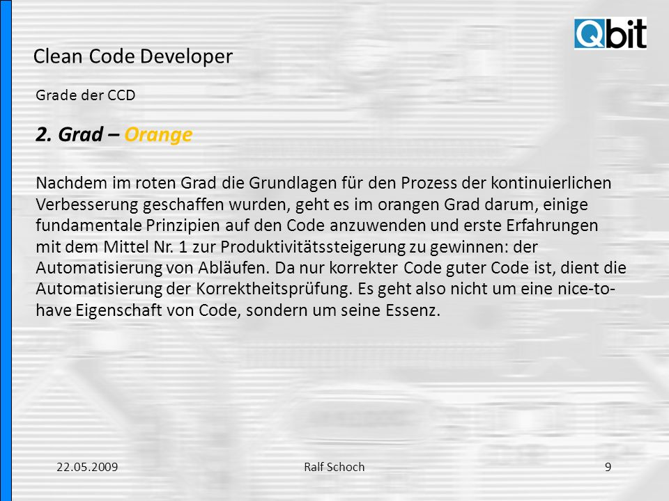 Clean Code Developer Grade der CCD 3.
