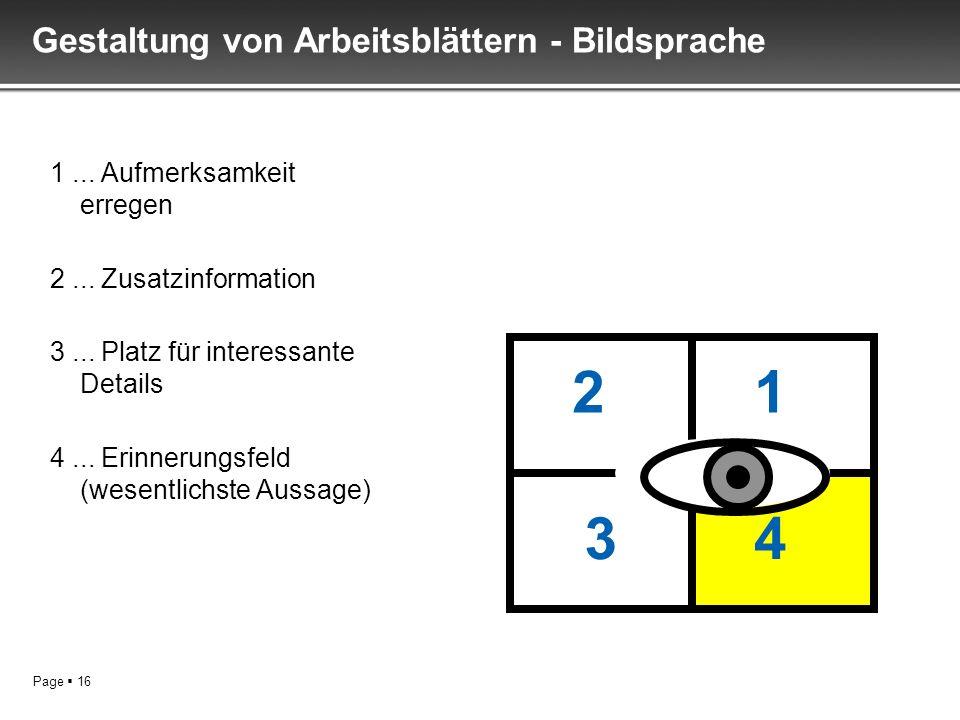Page 16 Gestaltung von Arbeitsblättern - Bildsprache 1... Aufmerksamkeit erregen 2... Zusatzinformation 3... Platz für interessante Details 4... Erinn