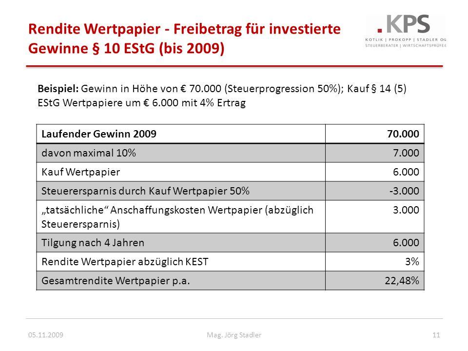 Rendite Wertpapier - Freibetrag für investierte Gewinne § 10 EStG (bis 2009) 05.11.200911Mag. Jörg Stadler Beispiel: Gewinn in Höhe von 70.000 (Steuer