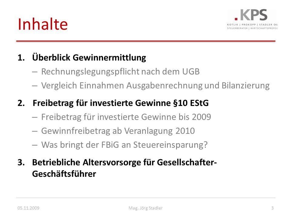 Betriebliche Altersvorsorge bei Gesellschafter-Geschäftsführern 05.11.200914Mag.