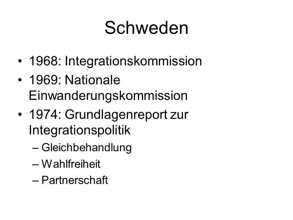 Schweden 1968: Integrationskommission 1969: Nationale Einwanderungskommission 1974: Grundlagenreport zur Integrationspolitik –Gleichbehandlung –Wahlfr
