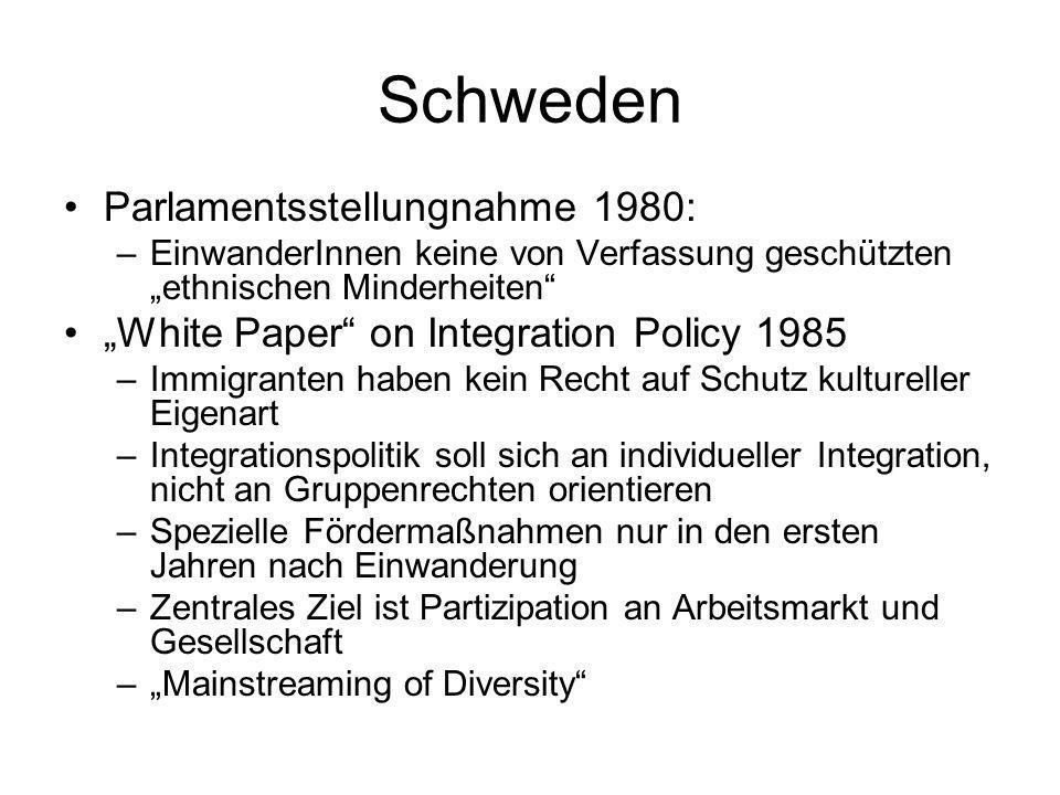 Schweden Parlamentsstellungnahme 1980: –EinwanderInnen keine von Verfassung geschützten ethnischen Minderheiten White Paper on Integration Policy 1985