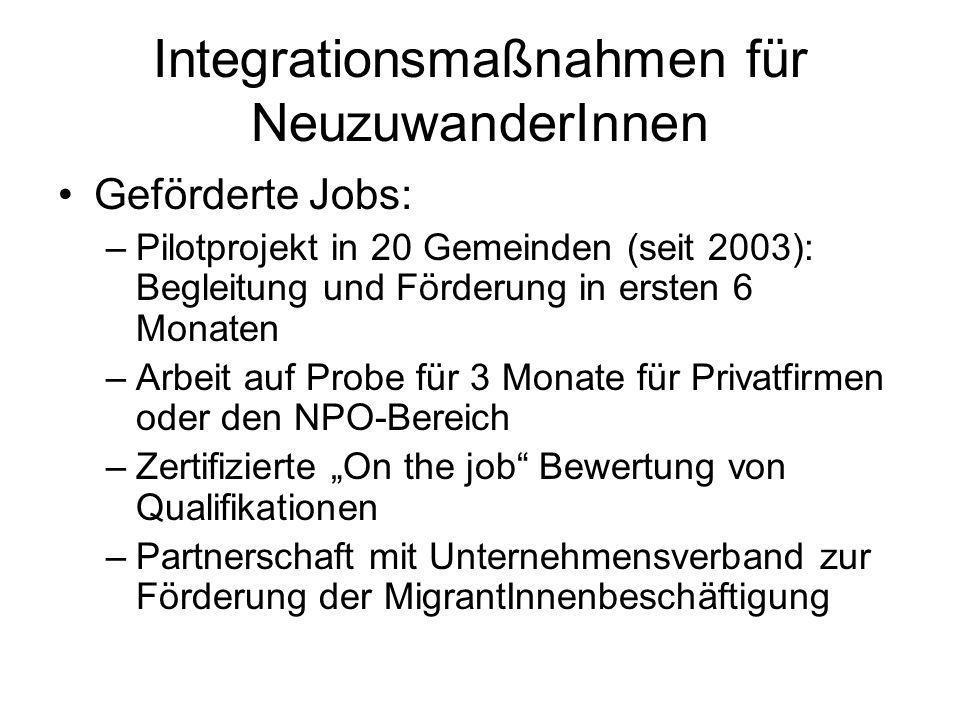 Integrationsmaßnahmen für NeuzuwanderInnen Geförderte Jobs: –Pilotprojekt in 20 Gemeinden (seit 2003): Begleitung und Förderung in ersten 6 Monaten –A