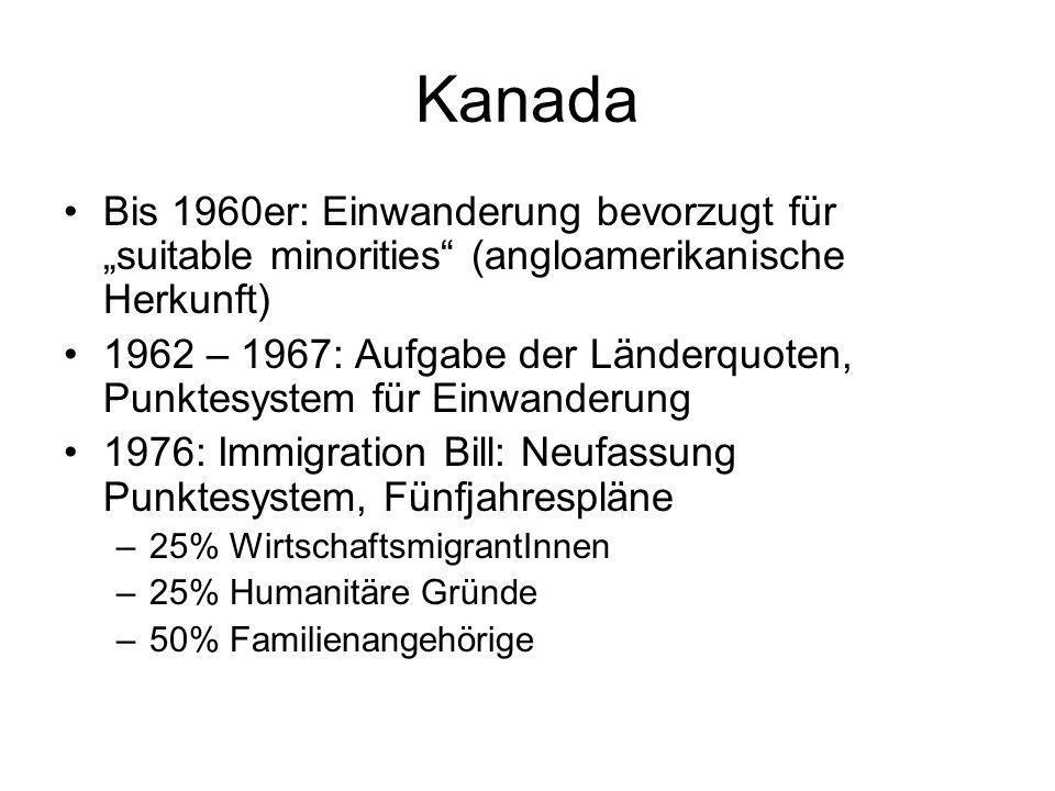 Kanada Bis 1960er: Einwanderung bevorzugt für suitable minorities (angloamerikanische Herkunft) 1962 – 1967: Aufgabe der Länderquoten, Punktesystem fü
